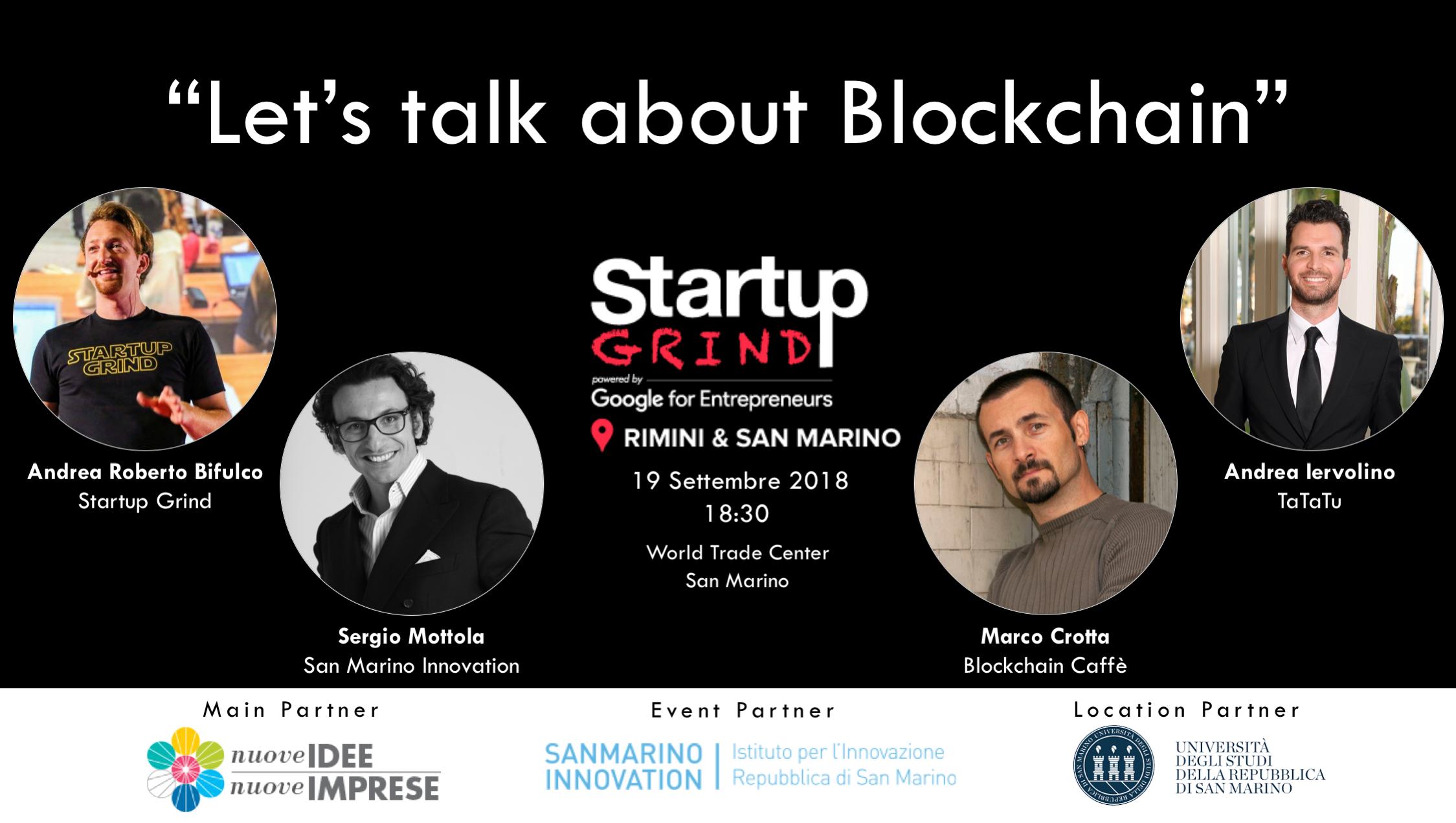 SGREII - 19 Settembre torna Startup Grind: appuntamento dedicato alla Blockchain