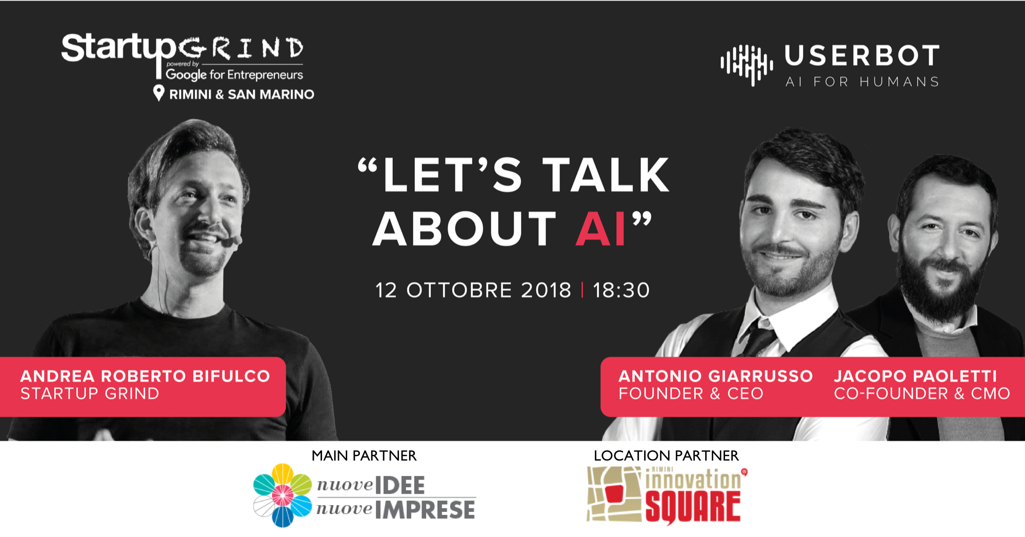 12 ottobre Startup Grind: intelligenza artificiale? Ne parliamo con Userbot a Rimini Innovation Square