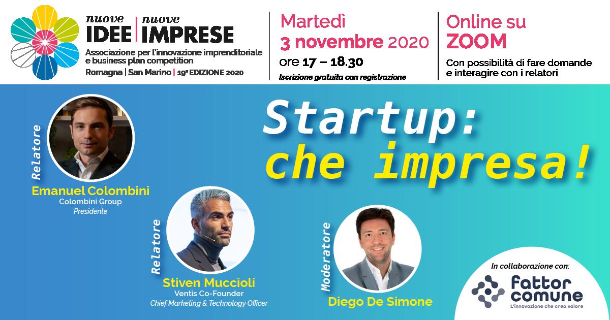 Startup: che impresa! Workshop, confronto, dialogo in diretta su Zoom